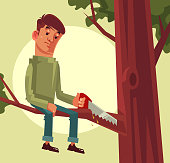 Do not cut branch you sitting proverb concept. Vector flat cartoon illustration