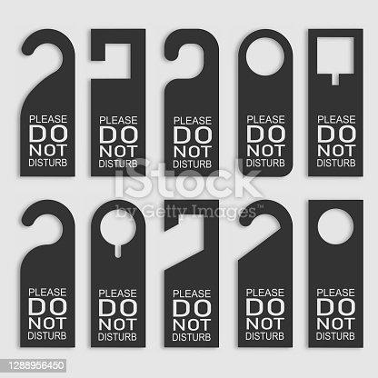 istock Do not disturb door hanger set. Vector 1288956450