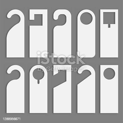 istock Do not disturb door hanger set. Vector 1288956671
