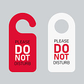Do not disturb door hanger signs isolated message for peace. EPS10