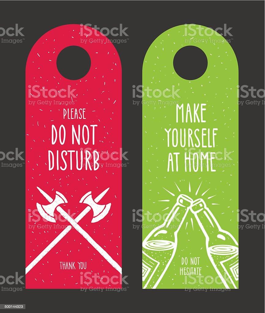 Do not disturb door hanger vector art illustration
