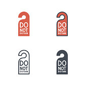 Do not disturb sign service icon vector flat line silhouette colored