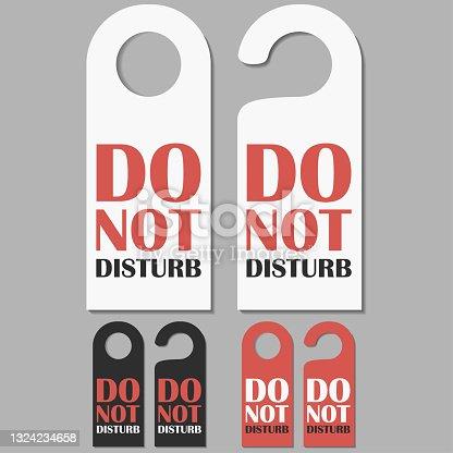 istock Do Not Disturb signs set. Hotel doors badge. Vector 1324234658