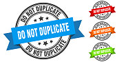 istock do not duplicate stamp. round band sign set. label 1289332915