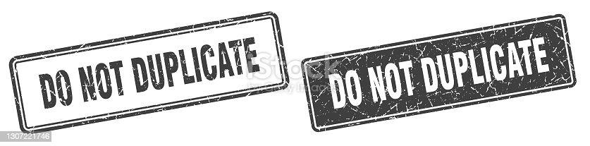 istock do not duplicate stamp set. do not duplicate square grunge sign 1307221746