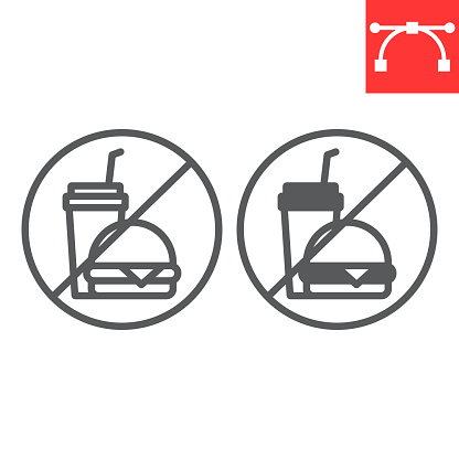 Do not eat line and glyph icon, prohibition and no eat, no fast food vector icon, vector graphics, editable stroke outline sign, eps 10.