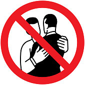 Warning sign advising not to hug to protect against coronavirus. Illustration of two men embracing
