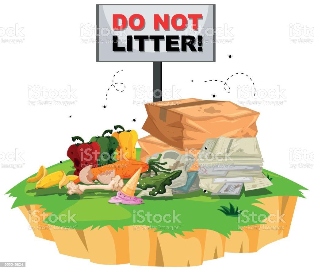 Não ninhada sinal com lixo por baixo - ilustração de arte em vetor