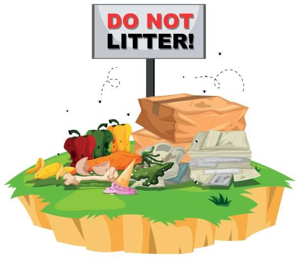 ilustraciones, imágenes clip art, dibujos animados e iconos de stock de no se tire muestra con basura por debajo de - leftovers