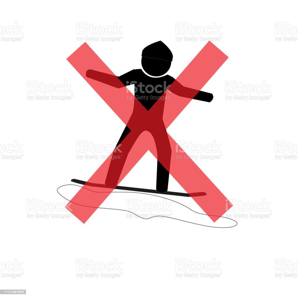 do not play Snowboard. Not Allowed Sign, warning symbol, road symbol...