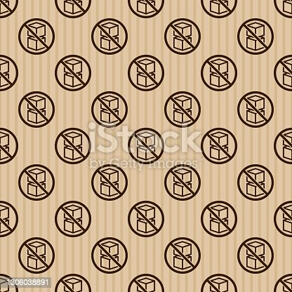 istock Do Not Stack Shipping Label Pattern 1306038891