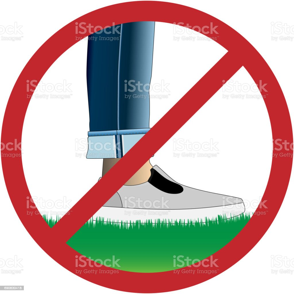 Do not step on grass sign vector art illustration