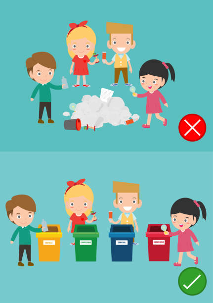 do not throw littering butts on the floor,wrong and right, female character that tells you the correct behavior to recycle.vector illustration - child throwing garbage stock illustrations, clip art, cartoons, & icons
