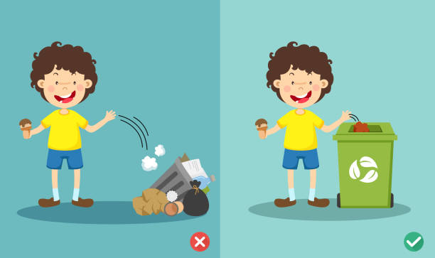Do not throw littering on the floor,wrong and right vector art illustration