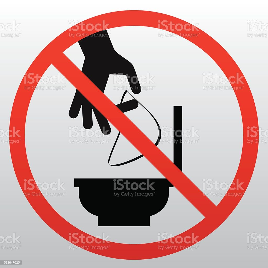 Do Not Throw Litter In Toilet Vector Art Ilration