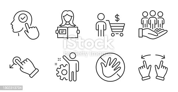 istock Do not touch, Drag drop and Select user icons set. Buyer, Best buyers and Employee signs. Vector 1302313704