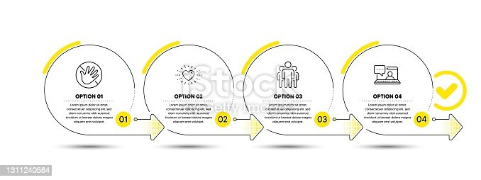 istock Do not touch, Group and Heart icons set. Friends chat sign. Not allowed, Managers, Love. Message. People set. Vector 1311240584