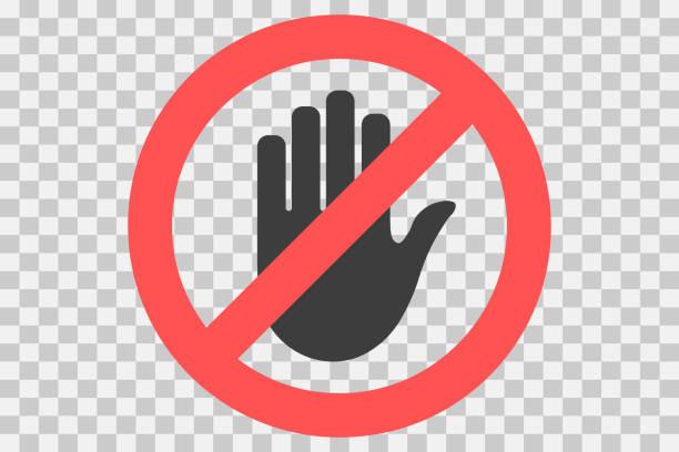 simge dokunmayın. el yasak işareti, giriş, dokunmayın, yasak, vektör simge zorlama - dokunmak stock illustrations