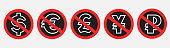 istock do not use currency prohibition sign set 1307400393