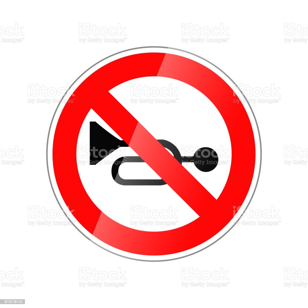 Do not use horn, forbidden red glossy sign isolated on white vector art illustration