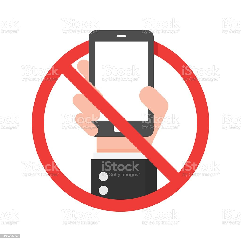 Do Not Use Mobile Phone Sign. vector art illustration