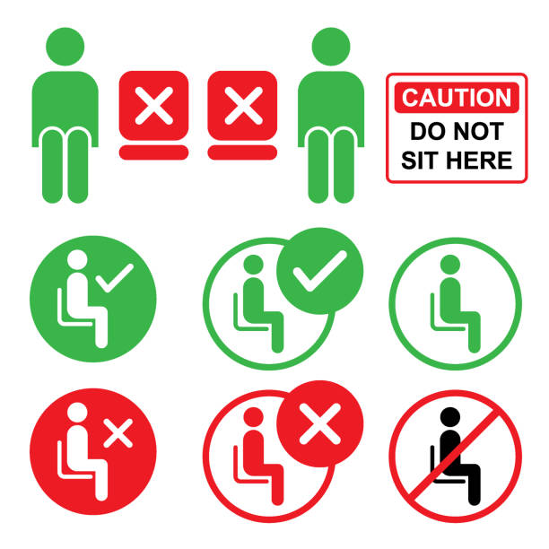 Do or Do not sit here Sign Vector of Do or Do not sit here Sign. A poster prohibiting certain actions for a person in a given territory. EPS vector file 10. sitting stock illustrations