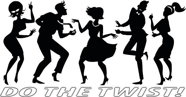 do the twist - 1960s style stock illustrations, clip art, cartoons, & icons