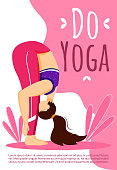 Do yoga brochure template. Active and healthy lifestyle. Sport exercises. Bodypositive flyer, booklet, leaflet concept with flat illustrations. Vector page cartoon layout for magazine with text space