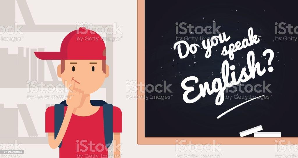 Você fala inglês conceito. - ilustração de arte em vetor