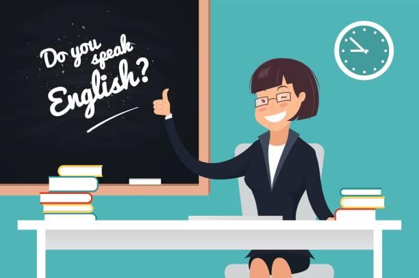 英語の概念は話します。 - 語学の授業点のイラスト素材/クリップアート素材/マンガ素材/アイコン素材