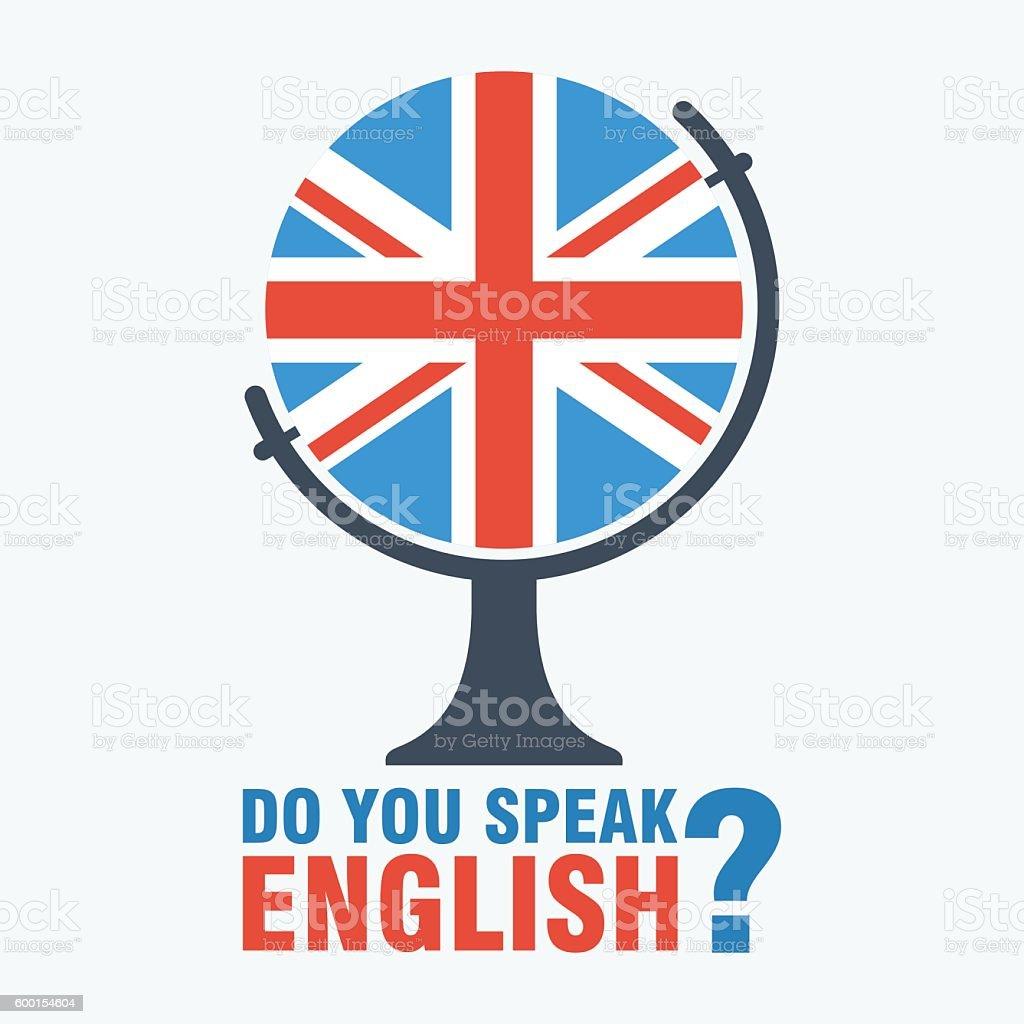 do you speak english globe vector art illustration