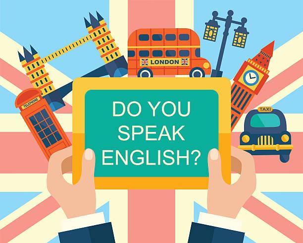 구사합니까 영어? - 잉글랜드 문화 stock illustrations