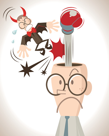 Do your best to put negative thoughts out of your mind, businessman with open head and boxing glove, punching the little red flying evil devil