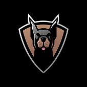 doberman pinscher shield e sport vector icon illustration