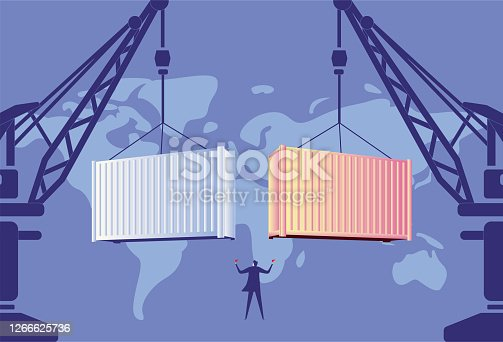 istock Dock crane loading and unloading containers 1266625736