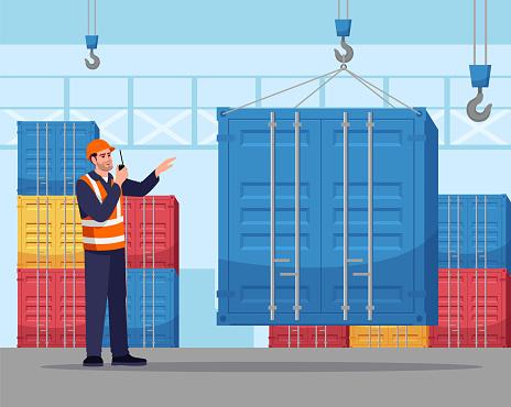 Dock worker semi flat vector illustration