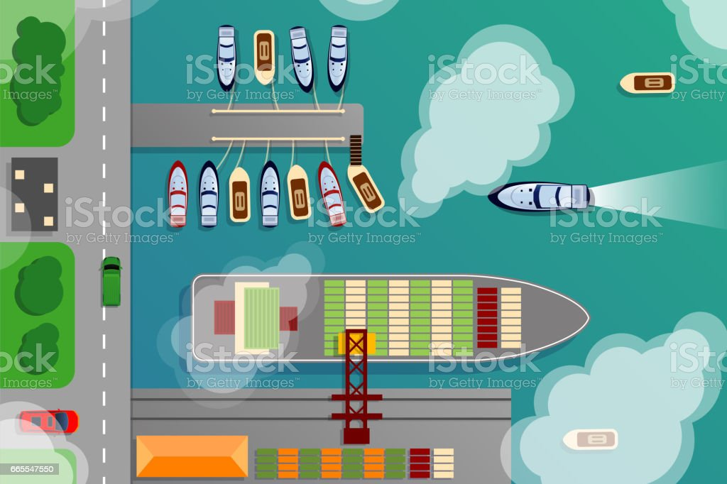 Dockyard harbor terminal aerial top view with cargo ship and ocean boats vector illustration vector art illustration