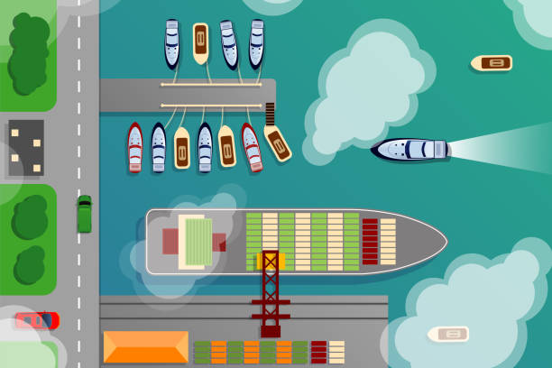 ilustrações de stock, clip art, desenhos animados e ícones de dockyard harbor terminal aerial top view with cargo ship and ocean boats vector illustration - porto