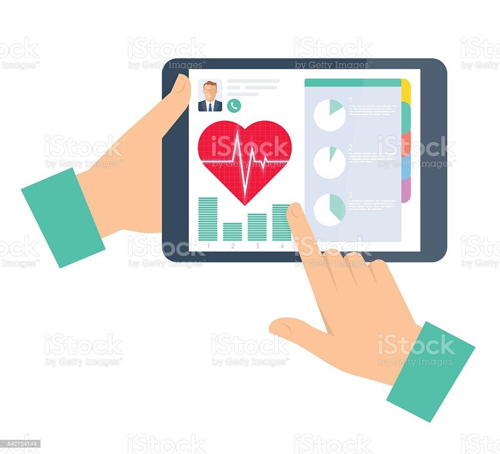 Médica recomenda um paciente no tablet. TELEMEDICINA e telehea - ilustração de arte em vetor