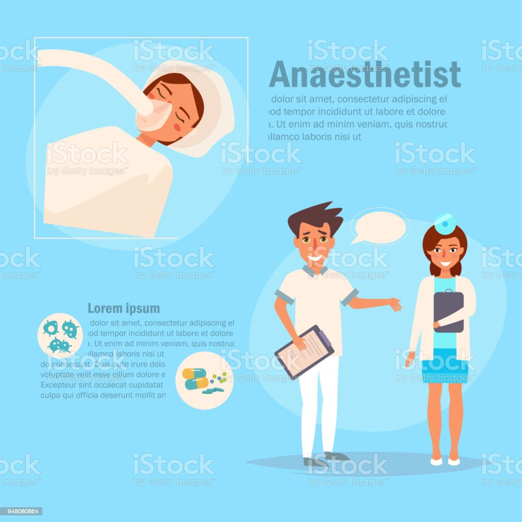 Doctor anaesthetist Vector. Cartoon vector art illustration