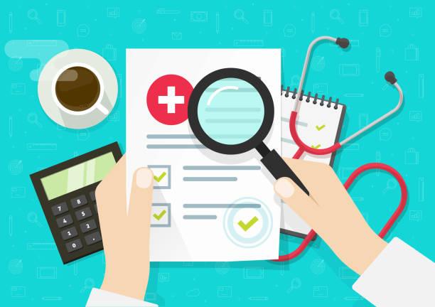 Doctor analysing medical, health insurance document vector, flat lay cartoon of medicine or hospital note record paper on working desk, medicine check list on workplace, approved good results vector art illustration