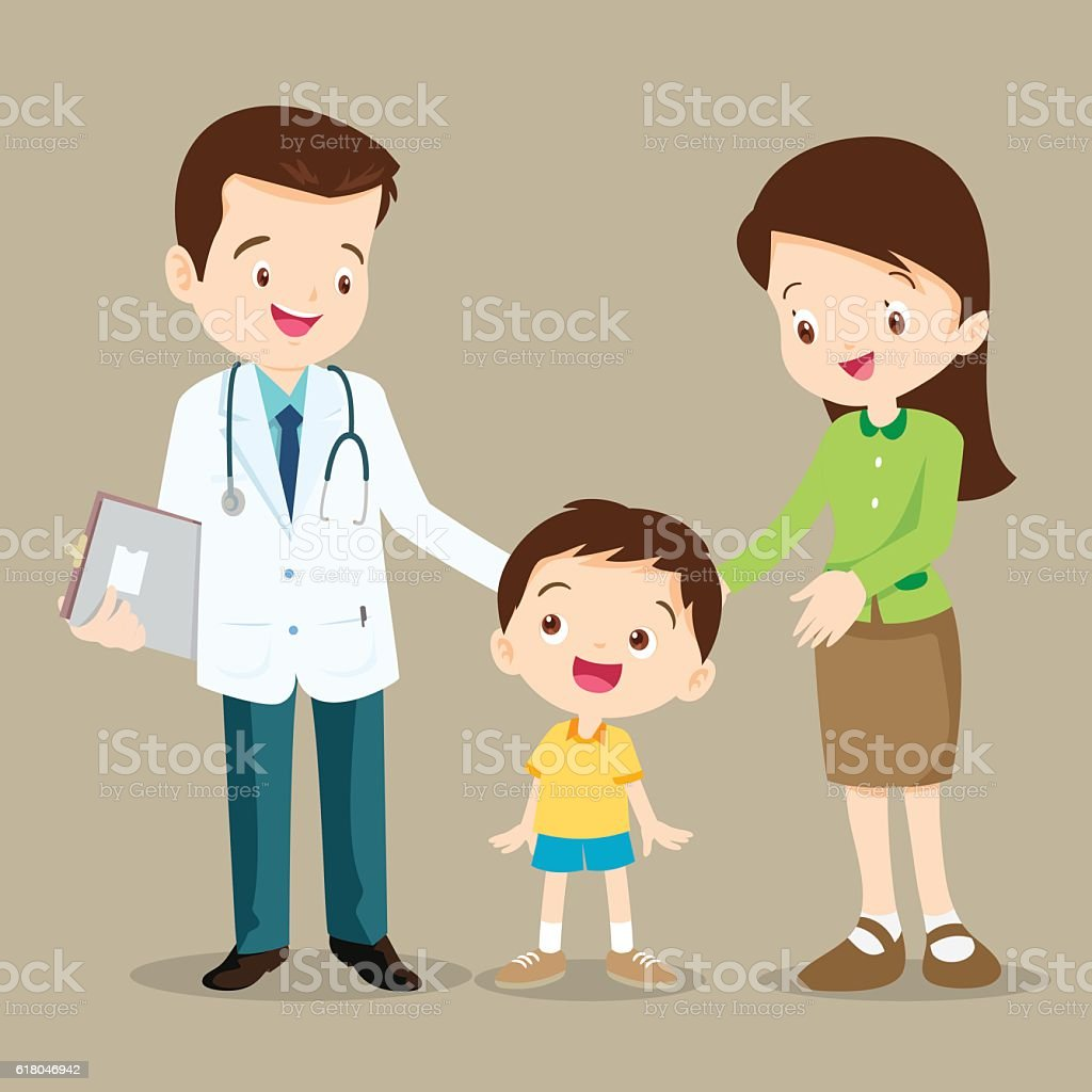 doctor and cute boy vector art illustration