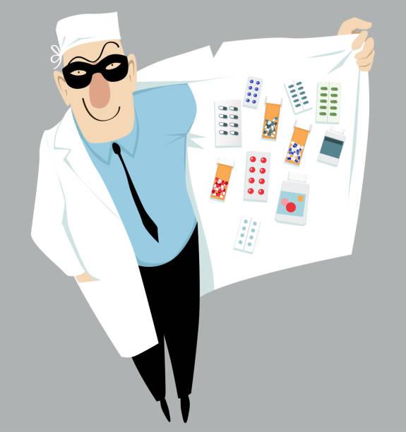Doctor and dealer Doctor in a mask selling black market drugs, EPS 8 vector illustration drug dealer stock illustrations