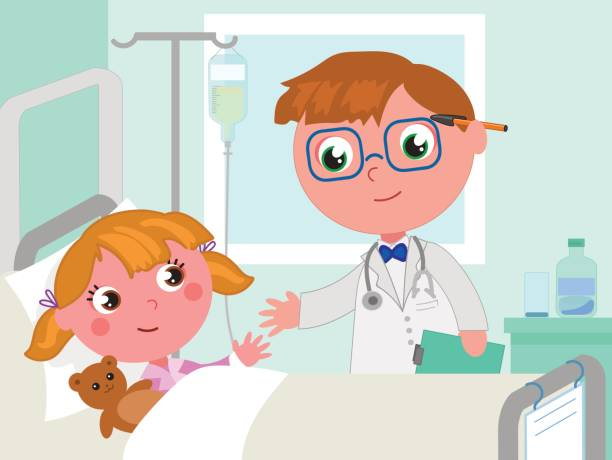 Image result for little girl in hospital bed cartoon