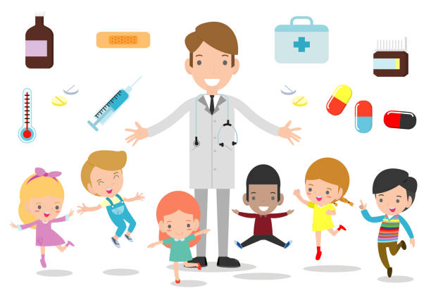 doctor and kids. doctor standing together with children, boy and girl be happy around the doctor on white background. flat style vector illustration - pediatrician stock illustrations