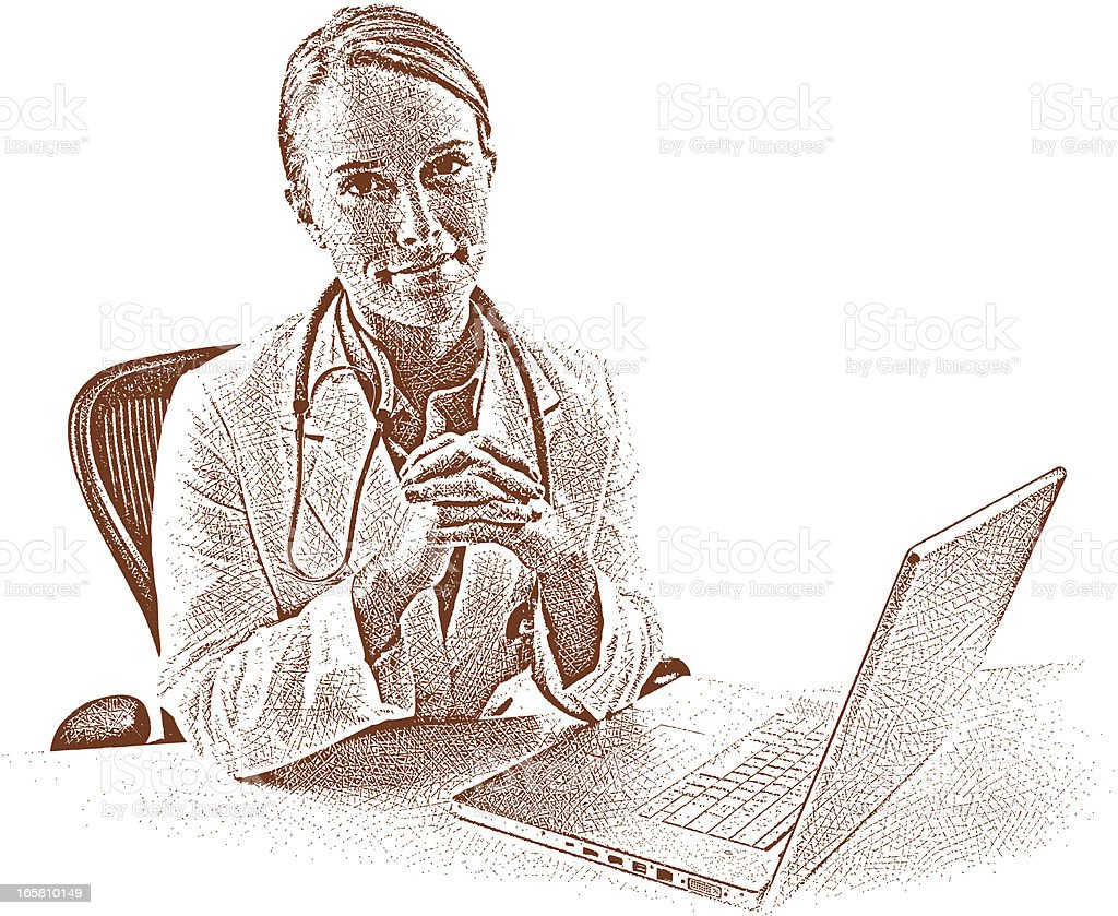 Doctor and Laptop royalty-free stock vector art