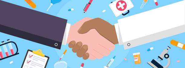 doctor and man shaking hands flat style design vector illustration with abstract rays. success deal, greeting, handshaking agreement isolated on background from medical and science equipment. - flu shot stock illustrations