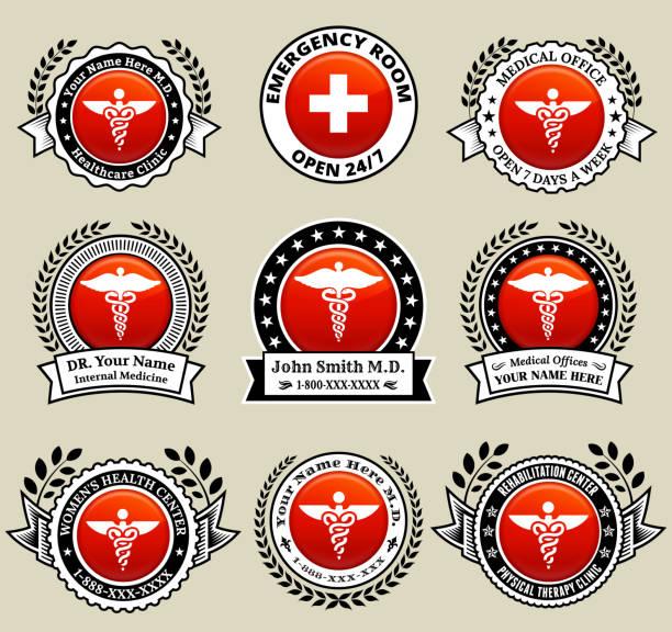 ilustraciones, imágenes clip art, dibujos animados e iconos de stock de doctor and medical oficina tarjetas con botón rojo - técnico en urgencias médicas