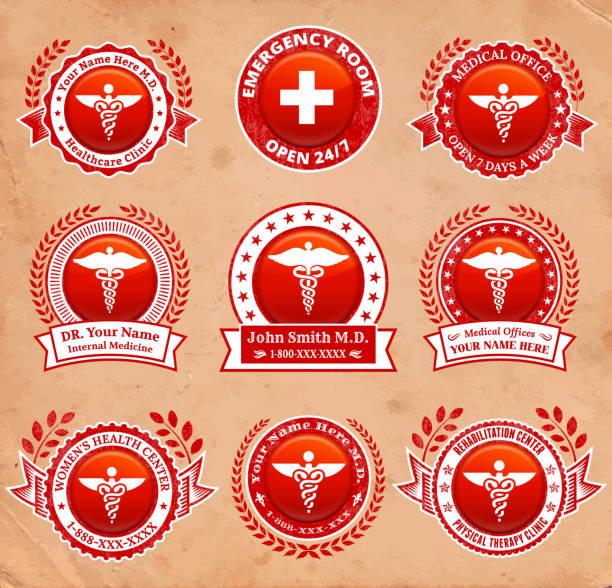 ilustraciones, imágenes clip art, dibujos animados e iconos de stock de doctor and medical oficina conjunto de tarjeta roja - técnico en urgencias médicas