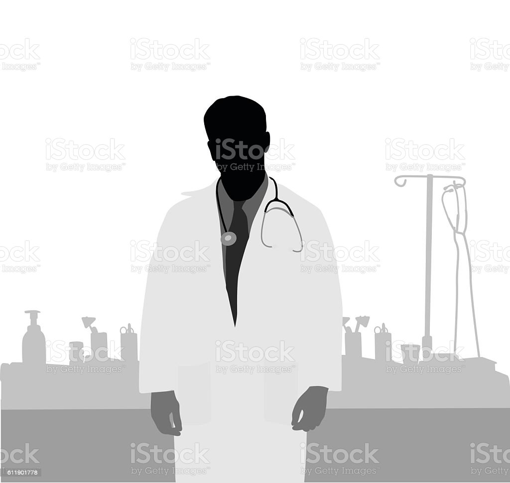 Doctor And Medical Supplies vector art illustration